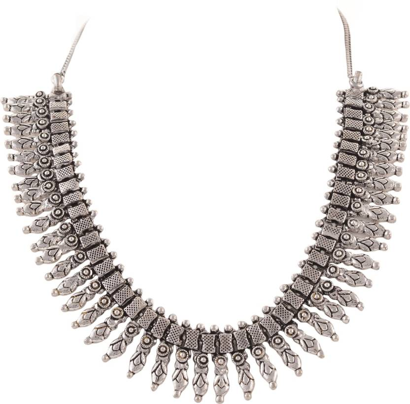 968b912c571 Zephyrr Fashion Necklace Oxidized White Metal Carved Design Ethnic Alloy  Choker Price in India - Buy Zephyrr Fashion Necklace Oxidized White Metal  Carved ...