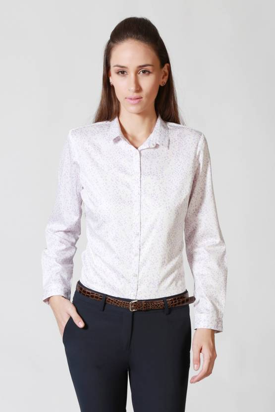 Allen Solly Women Printed Formal White Shirt - Buy White Allen Solly Women  Printed Formal White Shirt Online at Best Prices in India  f2ecd98a9