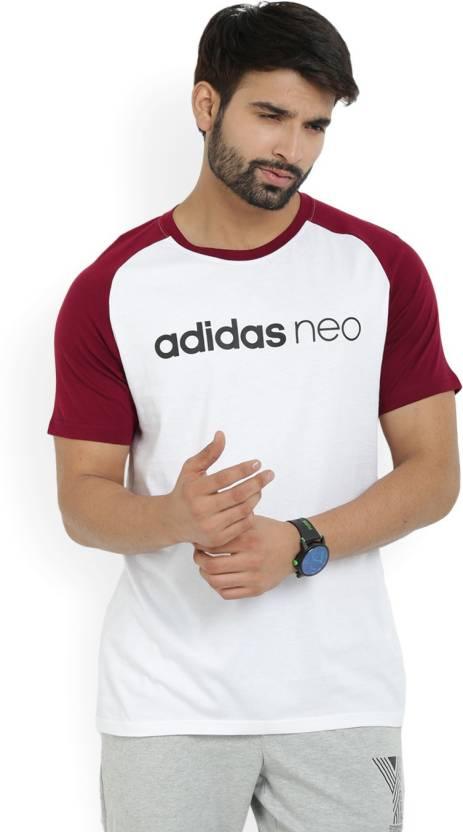 bb51fea8 ADIDAS NEO Printed Men's Round Neck White, Maroon T-Shirt - Buy  CBURGU/WHITE ADIDAS NEO Printed Men's Round Neck White, Maroon T-Shirt  Online at Best Prices ...