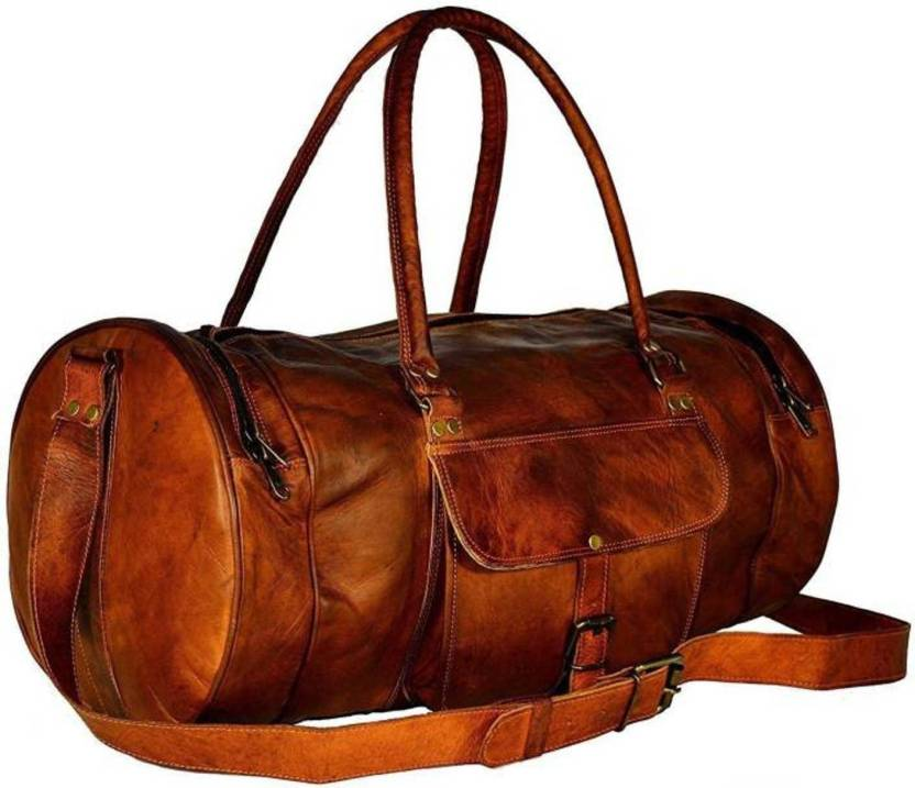 d083ce8bd9bc CraftShades 12 inch 30 cm (Expandable) Handmade leather duffel bag Travel  Duffel Bag (Brown)