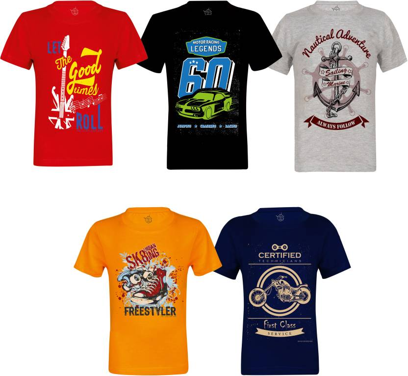 ea1b1489a ISKAVE Boys Self Design Cotton T Shirt Price in India - Buy ISKAVE ...