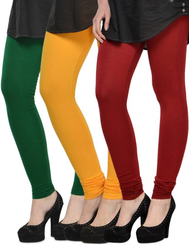 55a345e618 Klugger New Stylish Cotton Lycra Churidar Leggings pack of 3 (Free Size) Churidar  Legging (Multicolor, Solid)
