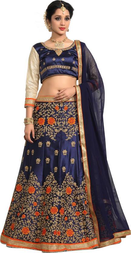 Fab Valley Embroidered Women's Lehenga, Choli and Dupatta Set
