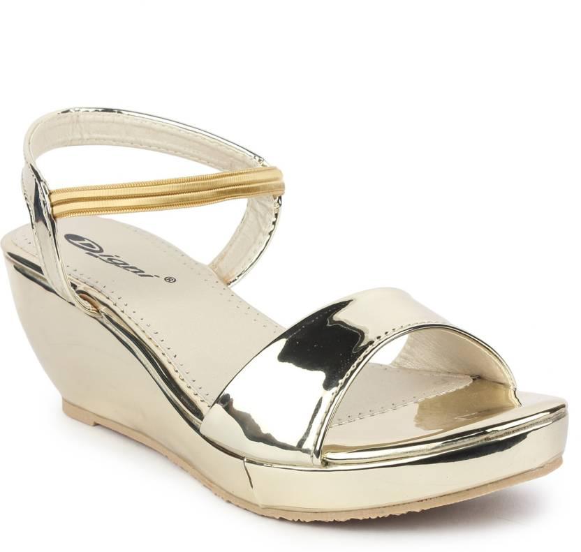 8d709edb1e Digni Women Golden Wedges - Buy Digni Women Golden Wedges Online at Best  Price - Shop Online for Footwears in India | Flipkart.com