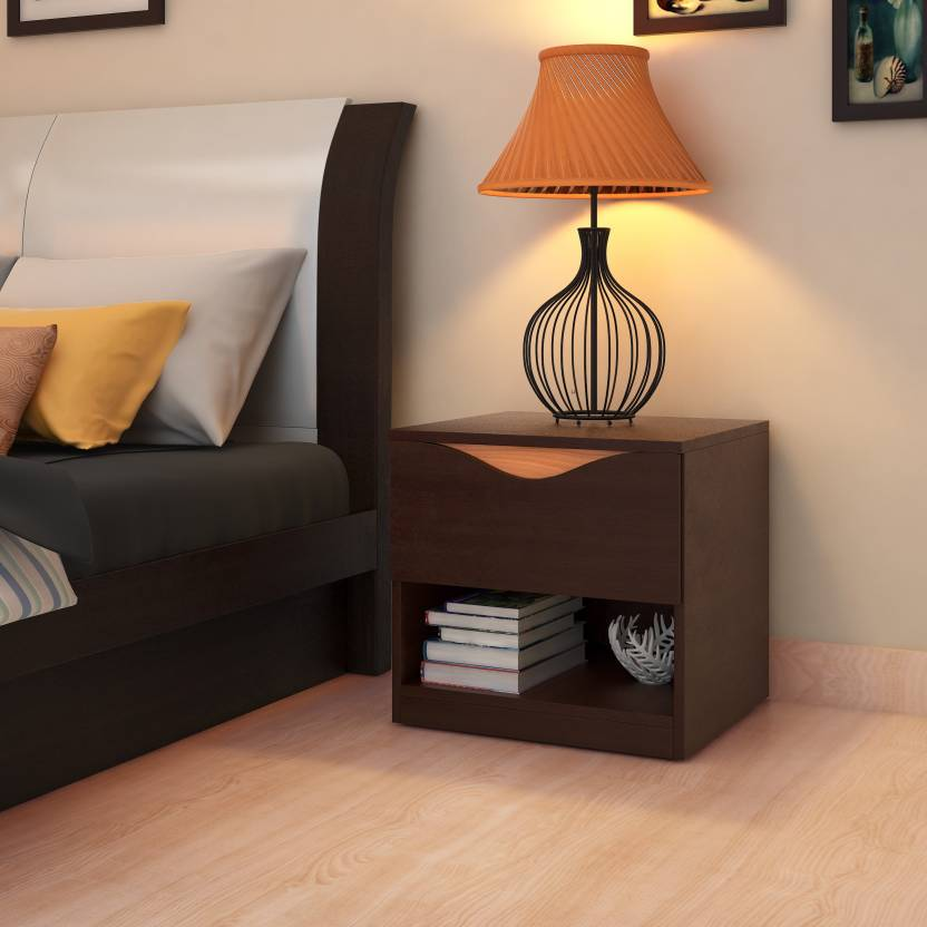 HomeTown Swirl Night Stand Engineered Wood Bedside Table Price in