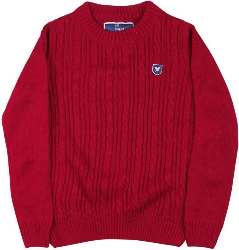 6d829ce5 612 League Self Design Crew Neck Casual Baby Boy's Red Sweater - Buy RED  612 League Self Design Crew Neck Casual Baby Boy's Red Sweater Online at  Best ...