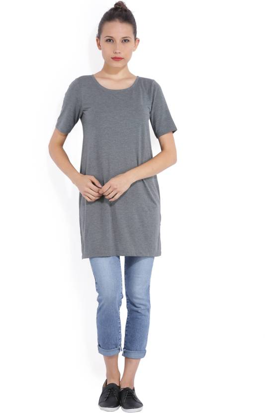 59e312e6 Bossini Casual Half Sleeve Solid Women Grey Top - Buy GREY Bossini Casual  Half Sleeve Solid Women Grey Top Online at Best Prices in India |  Flipkart.com