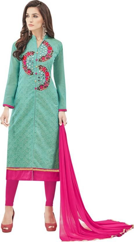 2730c6e219 Manvaa Chanderi Embroidered Semi-stitched Salwar Suit Dupatta Material  Price in India - Buy Manvaa Chanderi Embroidered Semi-stitched Salwar Suit  Dupatta ...