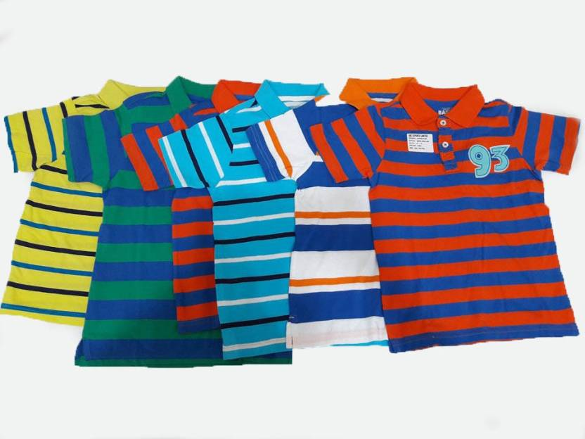 805141315f Design Plus Kids Boy Tshirts(Pack of 6) Boy's Striped Cotton T Shirt ( Multicolor, Pack of 6)