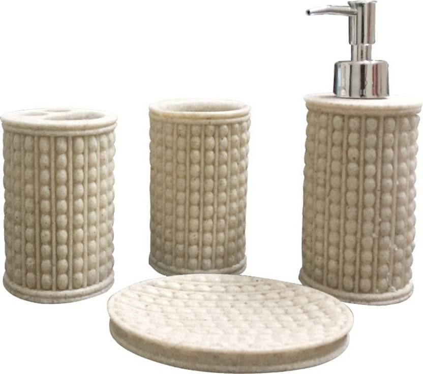Sterling Natural Stone Finish Polyresign 4 Pieces Bathroom Set 250 Ml Soap Dispenser