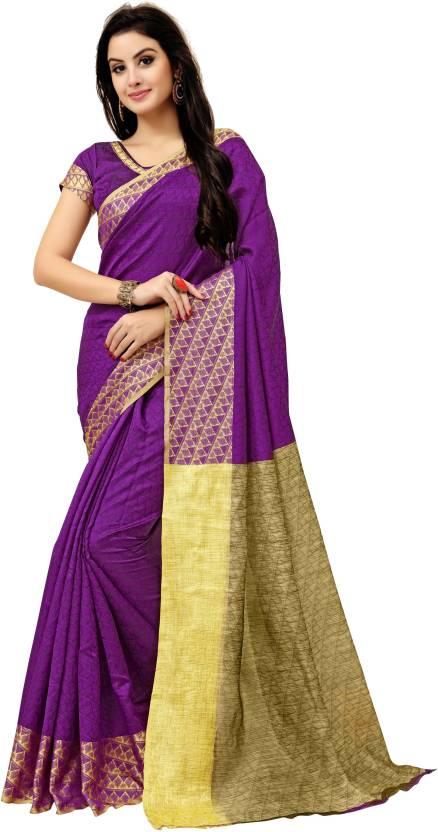 9cf58f4eccd31b Buy monjolika fashion Woven Banarasi Banarasi Silk Purple Sarees ...