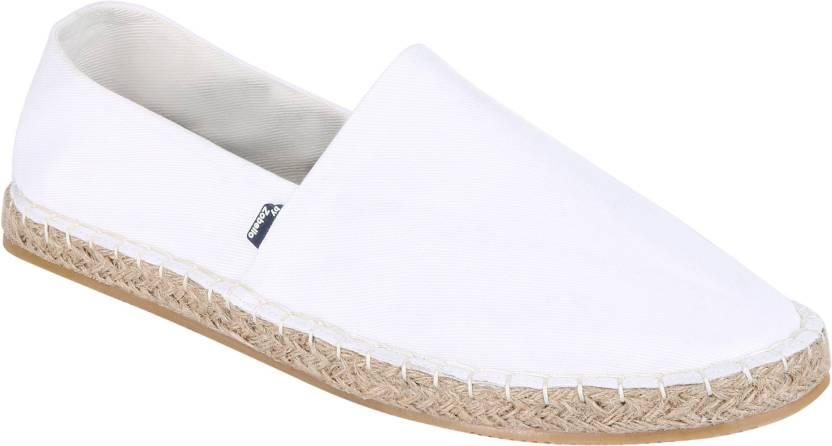 6b0a68b6f Zobello Men's White Solid Espadrilles Canvas Shoes For Men - Buy ...