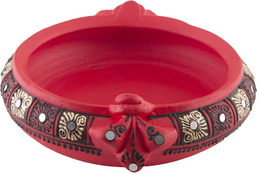 184 & Shabana Art Potteries Handmade Earthenware Decorative Flower Pot / Uruli / Urli Small Size Decorative Showpiece - 5 cm