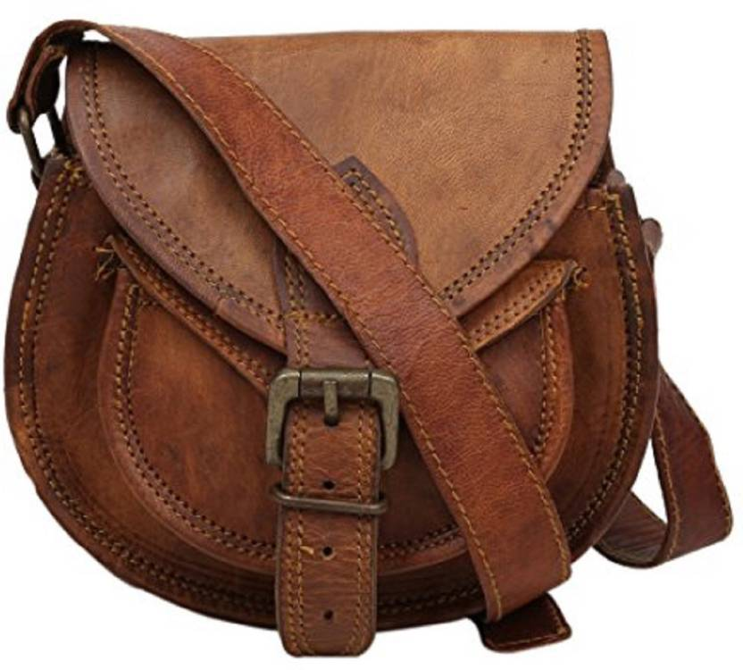 Anshika International Girls Casual Brown Genuine Leather Sling Bag brown -  Price in India  2493332d266c1