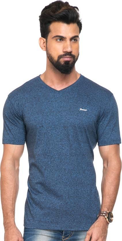 Perroni Solid Men V-neck Grey T-Shirt