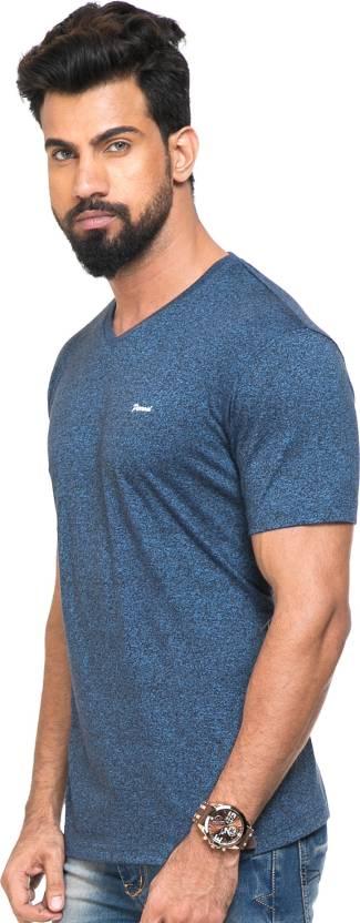 Perroni Solid Men V-neck Dark Blue T-Shirt