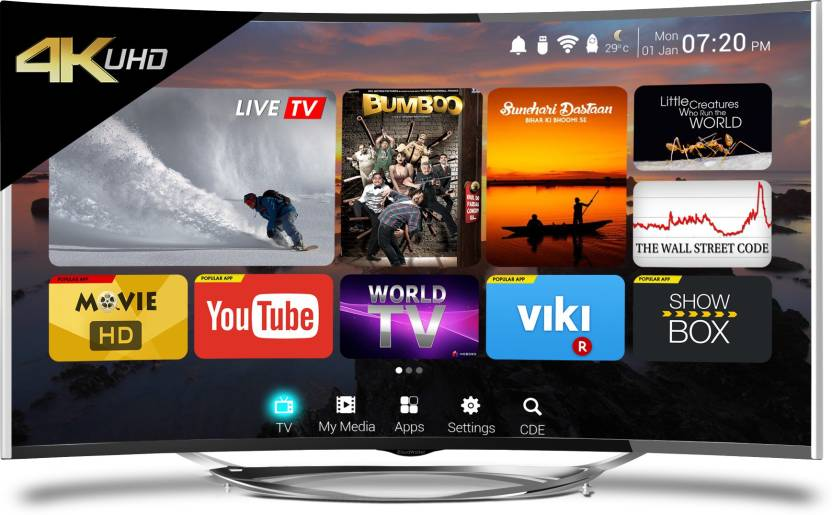 CloudWalker 139cm (55 inch) Ultra HD (4K) Curved LED Smart TV