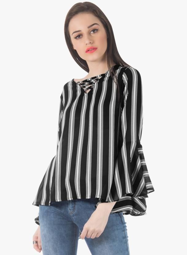 eb82d2e8e11 FabAlley Casual Full Sleeve Printed Women s Black Top - Buy FabAlley Casual  Full Sleeve Printed Women s Black Top Online at Best Prices in India