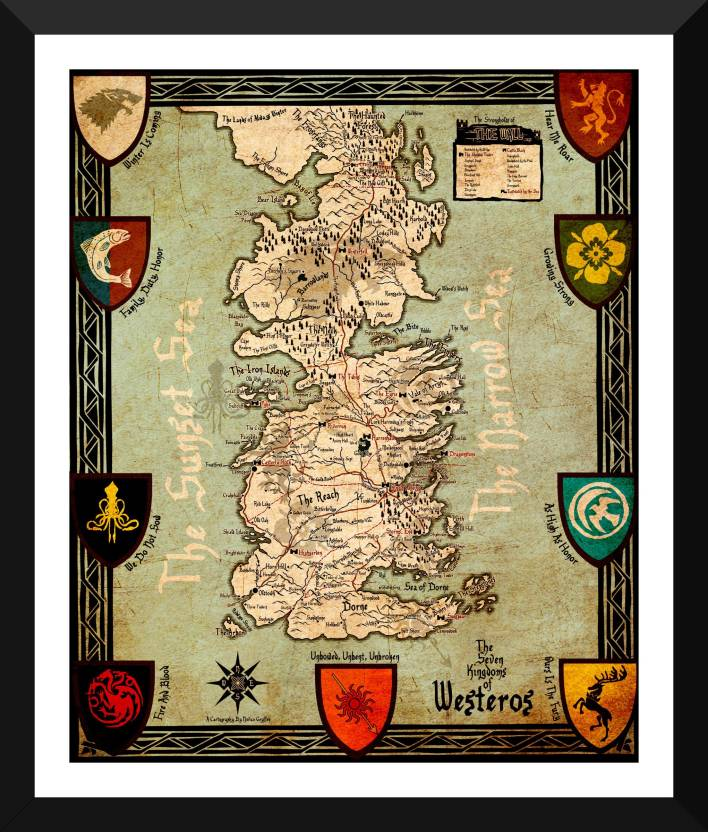 Seven Kingdoms Of Westeros Map - Game Of Thrones Collection ...