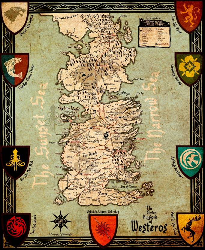 Seven Kingdoms Of Westeros Map - Game Of Thrones Collection ... on once upon a time kingdom map, anglo-saxon kingdoms map, kingdom of war game map, walking dead map, before westeros robert s rebellion map, a clash of kings map, assassin's creed kingdom map, kingdom of kush map, king of thrones map, de jure ck2 kingdoms map, fire and ice map,