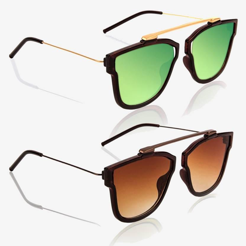 be4582485d32 Knotyy Retro Square Sunglasses (Green