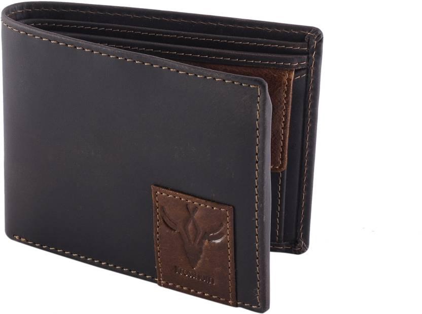 Krosshorn Men Brown Genuine Leather Wallet