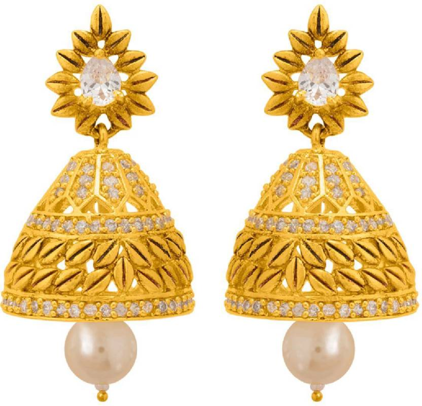cb999f14b Flipkart.com - Buy Voylla Tiny Gold Plated Jhumka Earrings with CZ Brass  Jhumki Earring Online at Best Prices in India