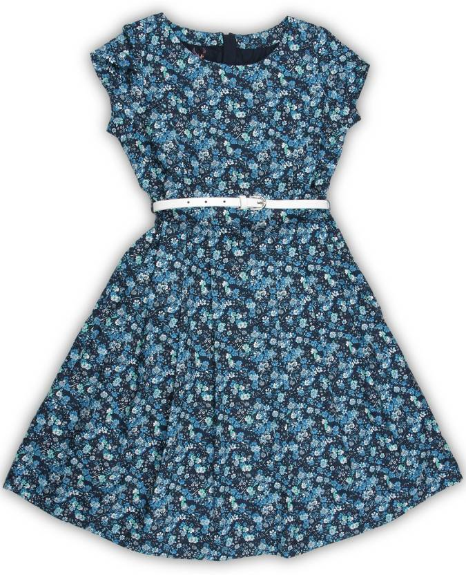 Allen Solly Junior Girls Midi/Knee Length Casual Dress  (Blue, Sleeveless)