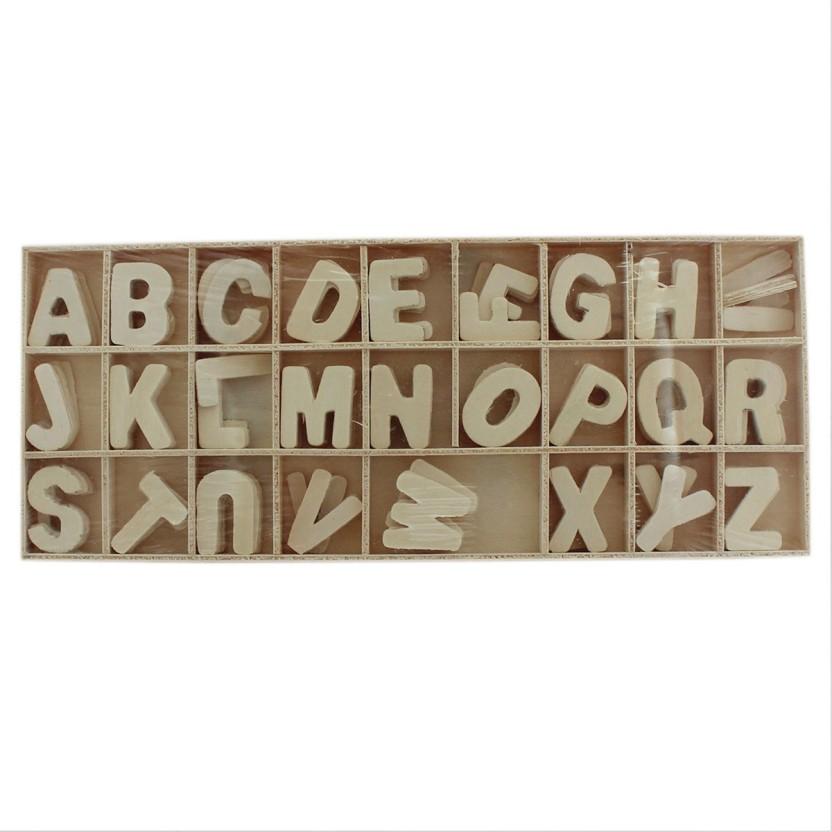 70 Wooden Capital Letters Alphabet Craft Educational Font Set Crafts