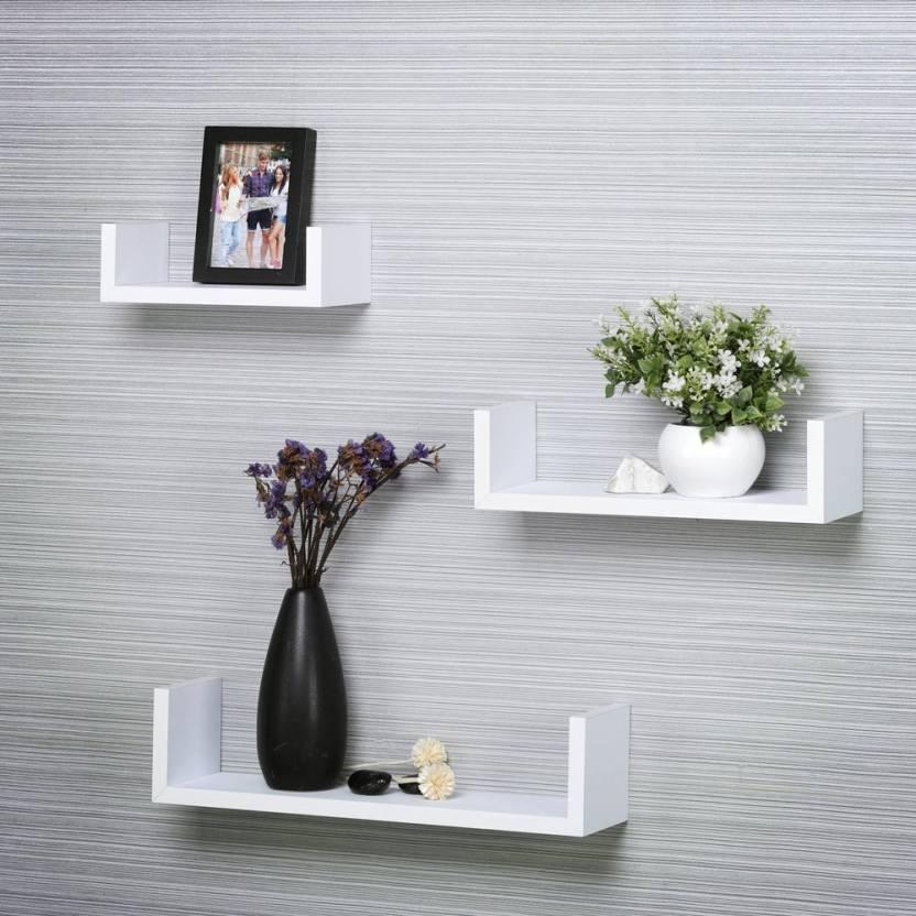 Decorasia U Shaped Floating White Mdf Wall Shelf