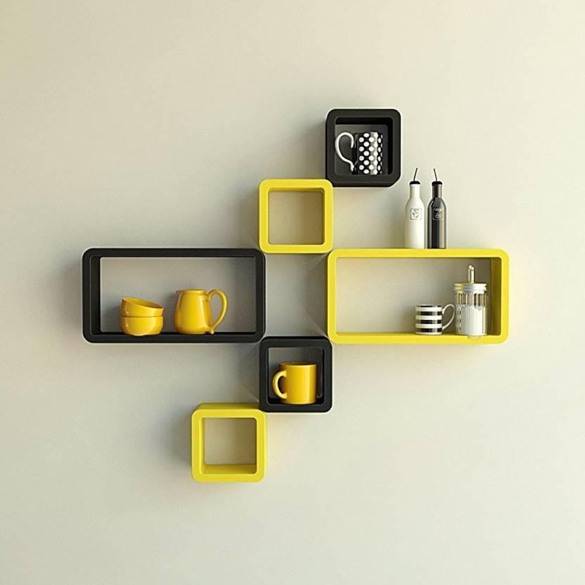 Decorasia Black & Yellow Cube Shape MDF Wall Shelf