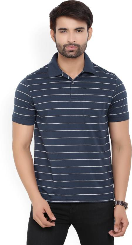 Peter England Striped Men's Polo Neck Blue, Grey T-Shirt