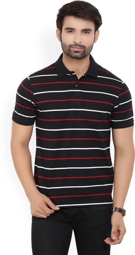 Peter England Striped Men's Polo Neck Red, Black T-Shirt