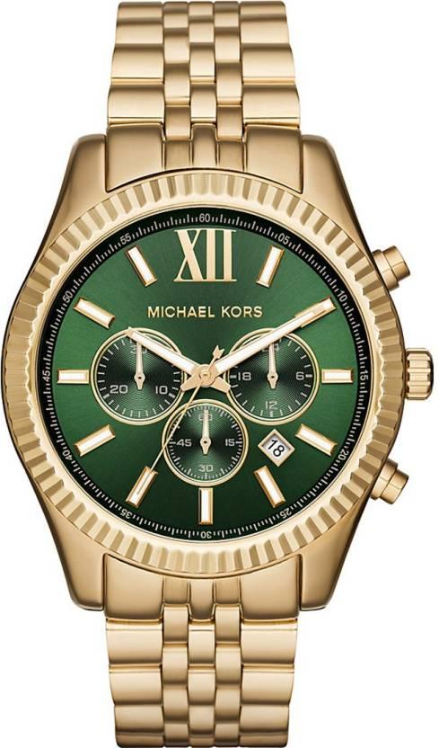 a8e53bc03cb7 Michael Kors MK8446 Lexington Chronograph Green Dial Watch - For Men - Buy Michael  Kors MK8446 Lexington Chronograph Green Dial Watch - For Men MK8446 ...
