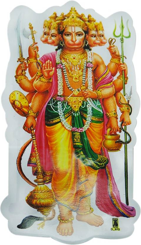 ratnatraya lord standing panchmukhi hanuman ji sticker for wall