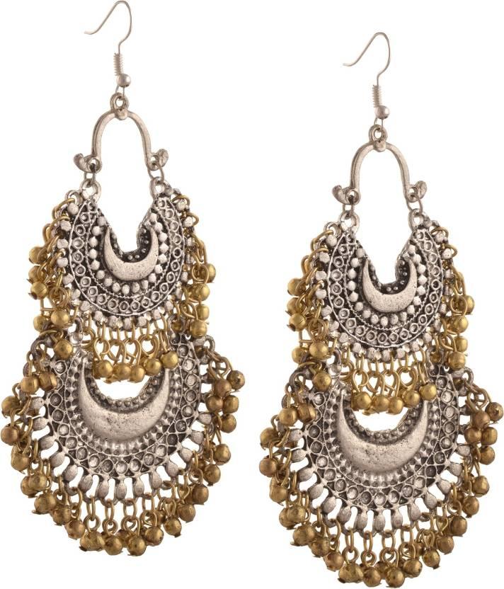 Flipkart Zephyrr Fashion German Silver Turkish Style Beaded Chandbali Earrings For Women Alloy Dangle Earring Online At Best Prices In