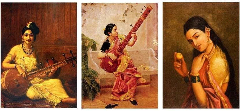 Tallenge Set Of 3 Raja Ravi Varma Paintings - Indian Art - Best Of