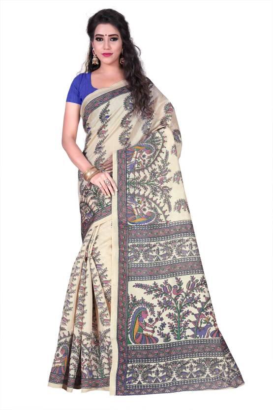 Buy Indian Robe Printed Bhagalpuri Cotton Silk Multicolor Sarees ... c7cc2ce88