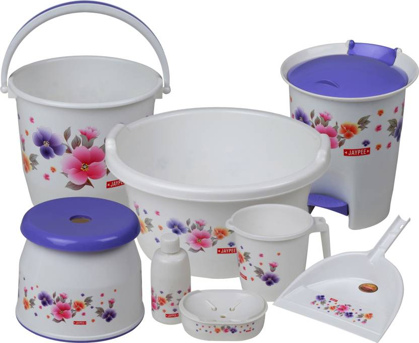 Jaypee Spring Time Bathroom Set Of 8 Pcs Large 55 L Plastic Bucket