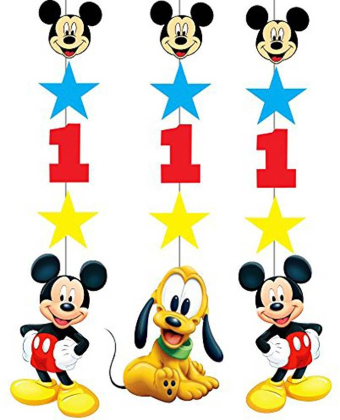 PARTY PROPZ Multicolor STRING HANGING SET OF 3 MICKEY MOUSE 1ST BIRTHDAY DECORATION