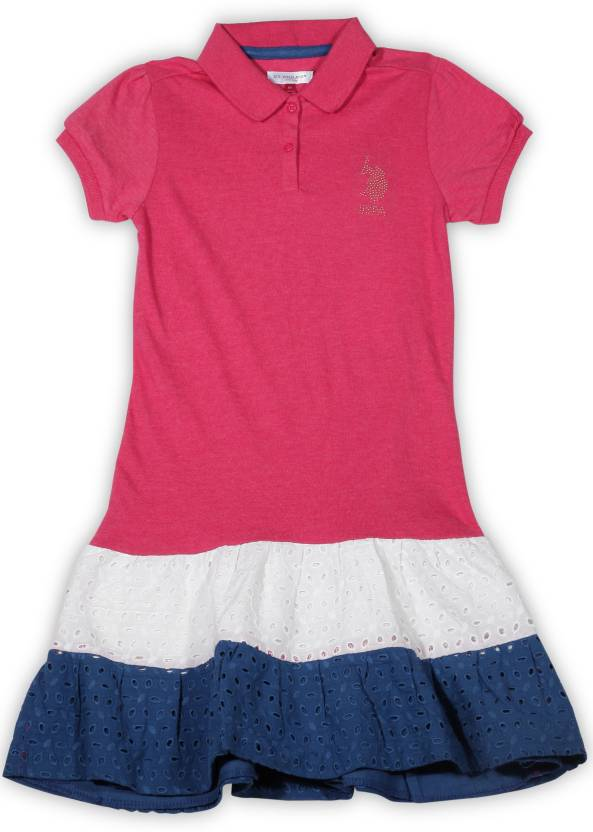 US Polo Kids Girls Midi/Knee Length Casual Dress