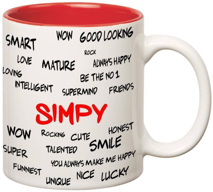 Huppme Good Personality Simpy Inner Red Ceramic Mug Price in India