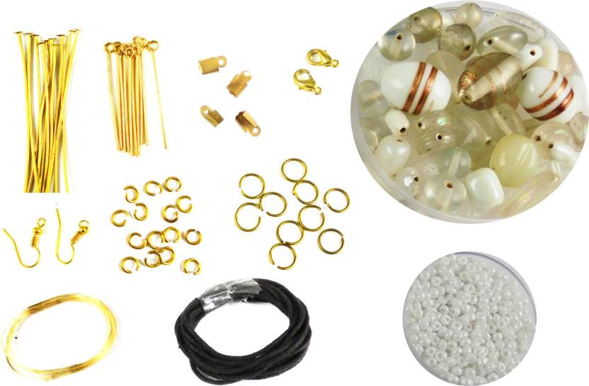 estore complete set of jewellery making art and craft diy kit with white  beads