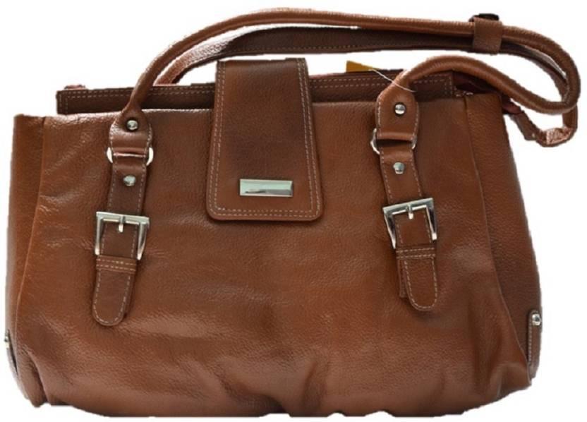 d59052e1a7 DE SEAMOS Women s Light Brown Colored Genuine Leather Handbag With Big  Pockets Shoulder Bag (Brown