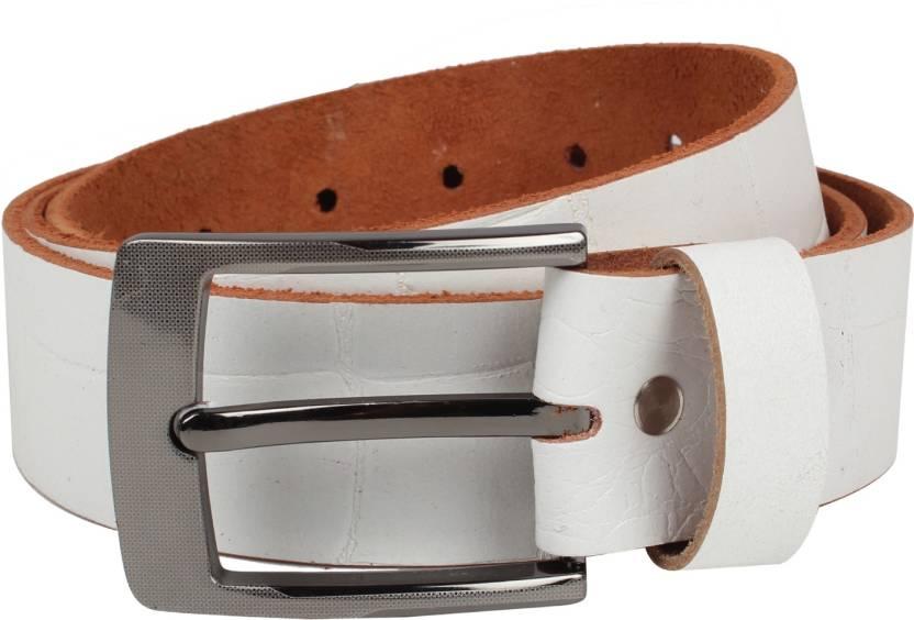 Exotique Men Casual White Genuine Leather Belt