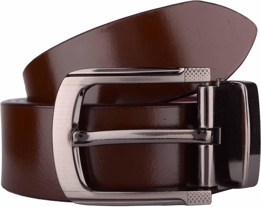 Exotique Men Formal Brown Genuine Leather Belt
