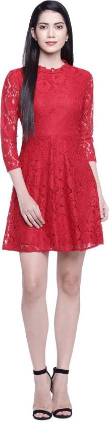 Honey By Pantaloons Women's Fit and Flare Red Dress