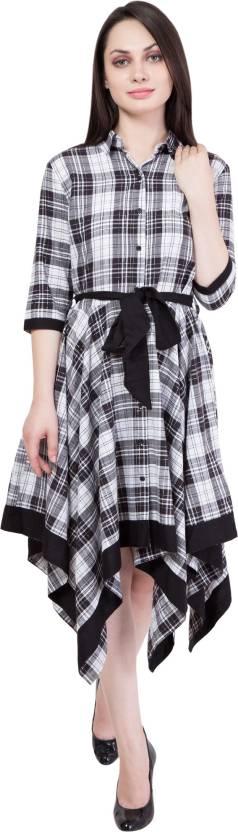 Hive91 Women's Wrap Black, White Dress
