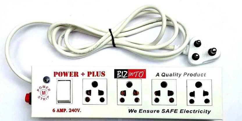 Bizinto Power Plus 4+1 Socket Extension Board in Metal 6 A Three Pin Socket