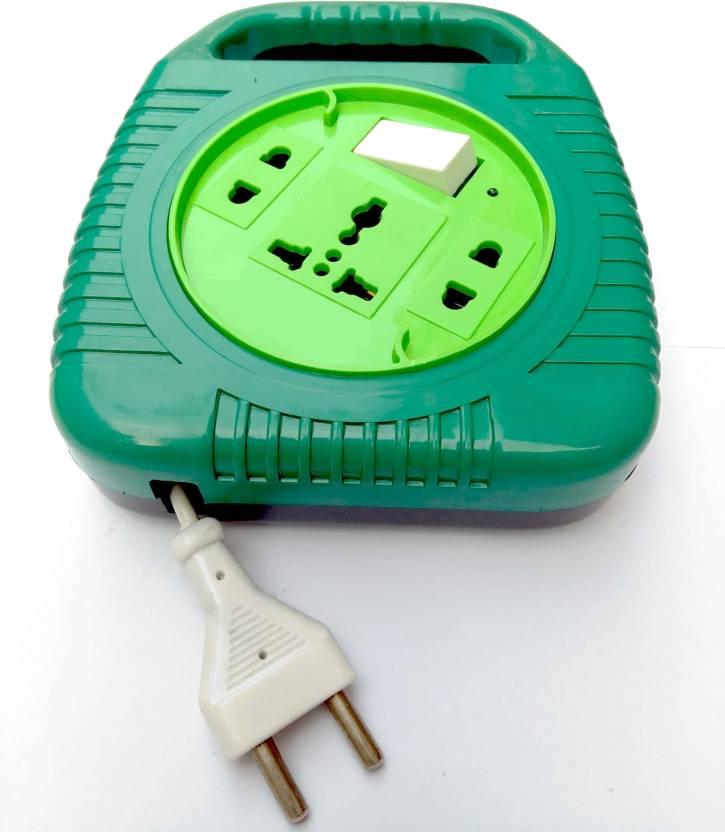 Bizinto Green Round 3+1 Flex Box with Long Wire 6 A Three Pin Socket ...
